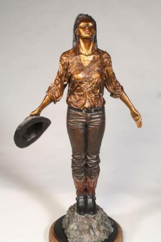 After the Rain <br> Cowgirl in the rain - Sculpture by Dennis Harrrington - Art Castings of Montana, Inc. Dennis Harrington Art Castings of Montana