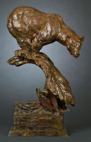 Anticipation<br>Bear Sculpture by Tim Shinabarger - Art Castings of Montana, Inc. Tim Shinabarger Art Cast Bronze Casting
