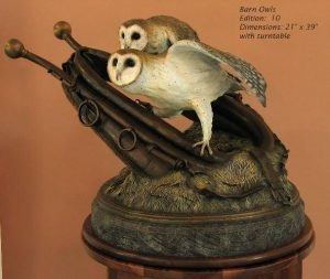 Barn Owls<br> Sculpture by Sam Terakedis - Art Castings of Montana, Inc. Sam Terakedis Art Casting Foundry