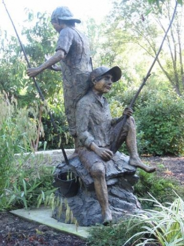 Beginners Luck <br>Life-size Kids Fishing Sculpture by Ott Jones - Art Castings of Montana, Inc. Ott Jones Art Cast Montana