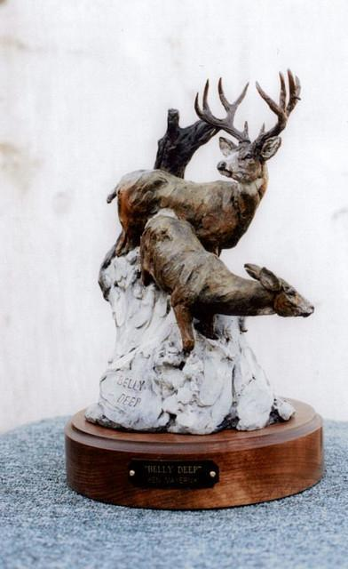 Belly Deep<br>Mule Deer Sculpture by Ken Mayernik - Art Castings of Montana, Inc. Ken Mayernik Art Cast MT