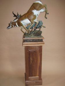 Born to Run<br> Pronghorn Antelope Sculpture by Sam Terakedis - Art Castings of Montana, Inc. Sam Terakedis Art Casting Foundry