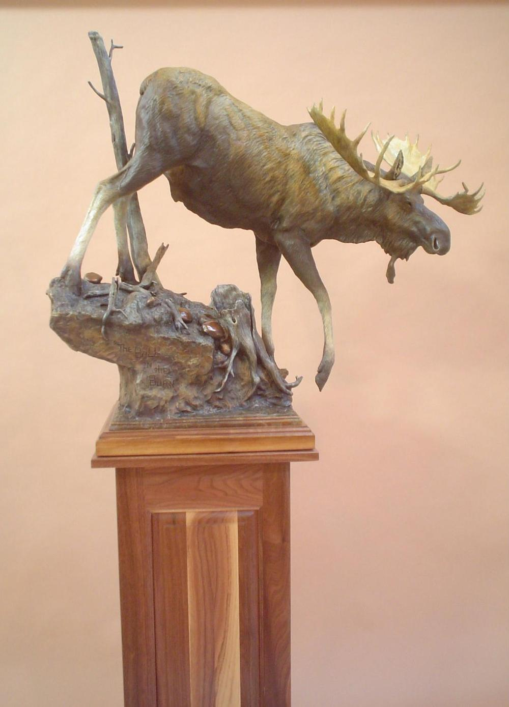 Bull in the Burn<br> Bull Moose Sculpture by Sam Terakedis - Art Castings of Montana, Inc. Sam Terakedis Art Casting Foundry