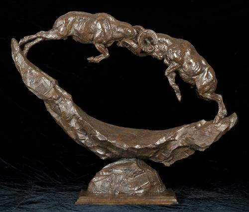 Clash of Thunder<br>Bighorn Sheep Sculpture by Tim Shinabarger - Art Castings of Montana, Inc. Tim Shinabarger Art Cast Bronze Casting