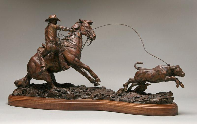 Day Money <br> Calf Roping Sculpture by Con Williams - Art Castings of Montana, Inc. Con Williams Rodeo Sculpture