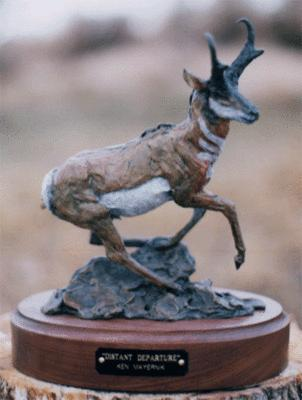 Distant Departure<br>Pronghorn Antelope Sculpture by Ken Mayernik - Art Castings of Montana, Inc. Ken Mayernik Art Cast MT