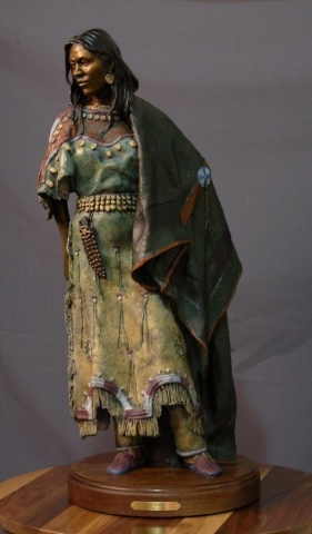 Elk Woman <br>Native American Sculpture by Dave Lemon - Art Castings of Montana, Inc. Dave Lemon Bronze Sculpture