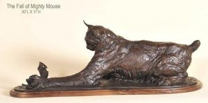 Fall of Mighty Mouse <br>Cat and Mouse Sculpture by Richard Loffler - Art Castings of Montana, Inc. Richard Loffler Bronze Foundry