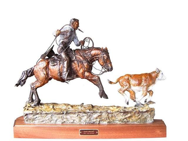 Fast Mover<br>Calf Roping Sculpture by Ken Mayernik - Art Castings of Montana, Inc. Ken Mayernik Art Cast MT