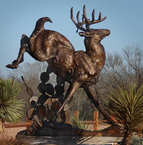 From the Brush <br>Twice Life-size Whitetail Deer Sculpture by George Bumann - Art Castings of Montana, Inc. George Bumann Art Cast Montana