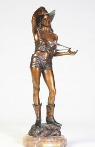 Gentle Persuasion<br>Persuasive Cowgirl Sculpture by Dennis Harrrington - Art Castings of Montana, Inc. Dennis Harrington Art Castings of Montana