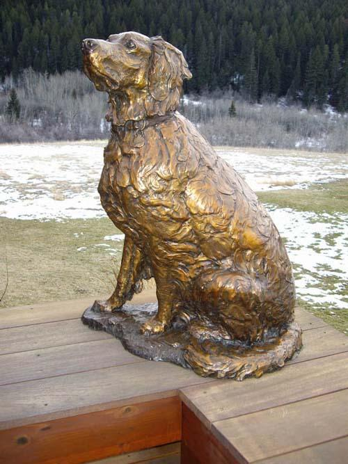 Golden Times Life-size Golden Retriever Sculpture by Ott Jones - Art Castings of Montana, Inc. Ott Jones Art Cast Montana