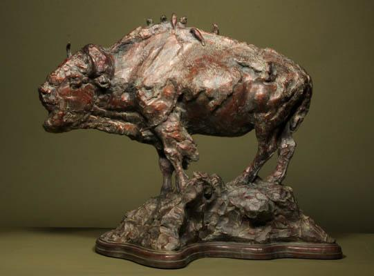 Height of Spring <br>Buffalo Sculpture by George Bumann - Art Castings of Montana, Inc. George Bumann Art Cast Montana