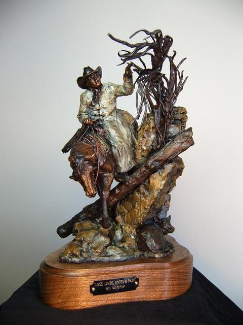 Logs, Limbs, Rocks & Rain<br>Bushwacking Sculpture by Ken Mayernik - Art Castings of Montana, Inc. Ken Mayernik Art Cast MT
