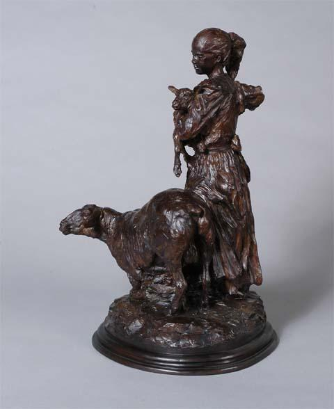 Mary <br>Mary had a Little Lamb Sculpture by Richard Loffler - Art Castings of Montana, Inc. Richard Loffler Bronze Foundry
