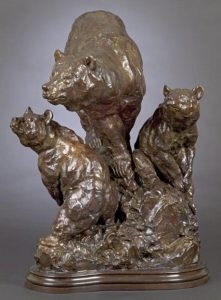 Mother`s Watch<br>Sow with Cubs Sculpture by Tim Shinabarger - Art Castings of Montana, Inc. Tim Shinabarger Art Cast Bronze Casting