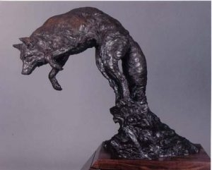 Mousing LS <br>Coyote Sculpture by Richard Loffler - Art Castings of Montana, Inc. Richard Loffler Bronze Foundry