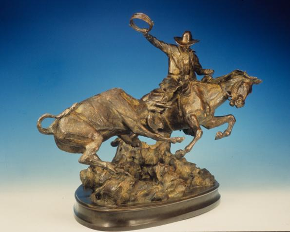 On the Fight <br> Cowboy and Bull Sculpture by Con Williams - Art Castings of Montana, Inc. Con Williams Rodeo Sculpture