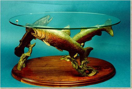 Rising Trout Coffee Table<br>Sculpture by Ott Jones - Art Castings of Montana, Inc. Ott Jones Art Cast Montana