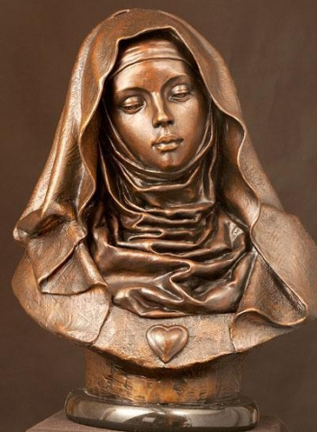 St. Gertrude<br> Sculpture by Philippe Faraut - Art Castings of Montana, Inc. Philippe Faraut Art Cast Foundry