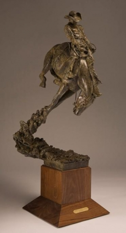 Tryin` to Collect a Buck<br>Saddle Bronc Bronze Sculpture by Greg Kelsey - Art Castings of Montana, Inc. Greg Kelsey Art Cast MT