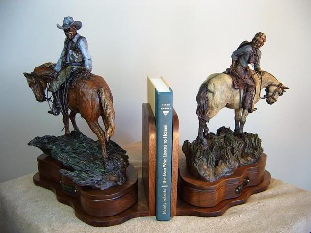 Twenty-Twenty Hindsight<br>Cowboy Book-end Sculpture by Ken Mayernik - Art Castings of Montana, Inc. Ken Mayernik Art Cast MT