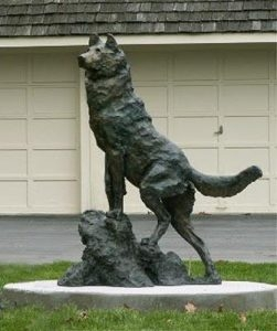 Valley Vigil <br>Life-size Wolf Sculpture by George Bumann - Art Castings of Montana, Inc. George Bumann Art Cast Montana