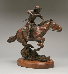Whip N Spur <br> Cowboy on Running Horse by Con Williams - Art Castings of Montana, Inc. Con Williams Rodeo Sculpture